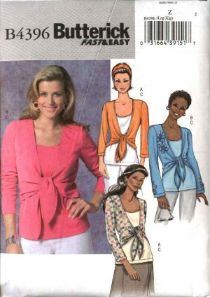Pattern 4396 Misses Size 4-14 Easy Knit Tank Top Tie Front Shrug