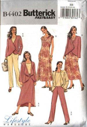 Butterick Sewing Pattern 4402 Misses Size 16-22 Easy Wardrobe Jacket Dress Top Pants Skirt