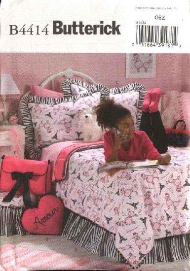 Butterick Sewing Pattern 4414 Girls' Bedroom Décor Duvet Cover Bedskirt Pillow Sham Footstool