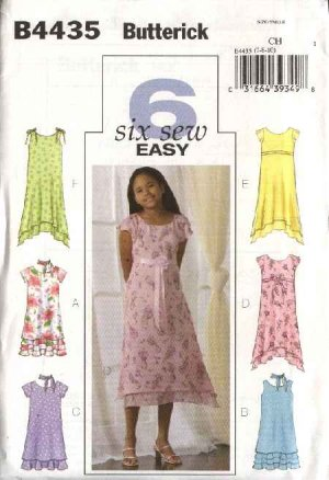 Butterick Sewing Pattern 4435 Girls Size 12-14-16 Easy Lined Spring Summer Dress Scarf