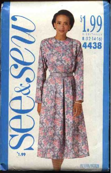 Butterick See & Sew Sewing Pattern 4438 Misses Size 12-14-16 Classic Long Sleeve Full Skirt Dress