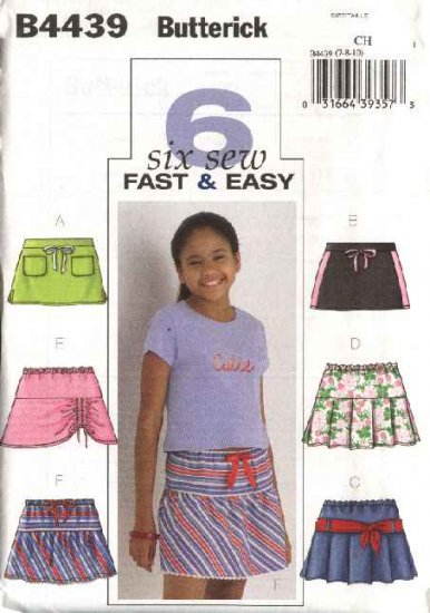 Butterick Sewing Pattern 4439 Girls Size 7-8-10 Easy Pleated Gathered A-Line Skorts Skirts