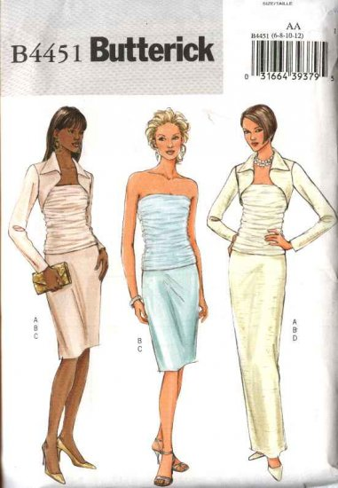 Butterick Sewing Pattern 4451 Misses Size 6-12  Formal Shrug Ruched Top Long Short Straight Skirt