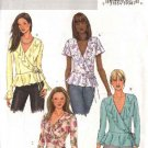 Butterick Sewing Pattern 4455 Misses Size 8-10-12-14 Easy Front Wrap Ruffled Top Sleeve Variations