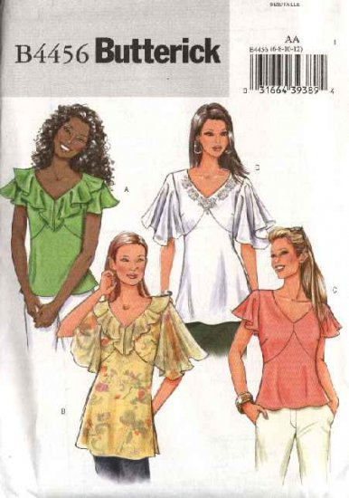 Butterick Sewing Pattern 4456 Misses Size 6-8-10-12 Easy Pullover Top Sleeve Neck Variations
