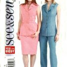 Butterick Sewing Pattern 4496 Misses Size 6-8-10 Easy Sleeveless Button Front Jacket Skirt Pants