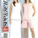 Butterick Sewing Pattern 4498 Misses Size 8-10-12 Easy Button Back Sleeveless Top Skirt Shorts