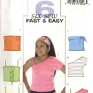 Butterick Sewing Pattern 4506 Girls Size 7-8-10 Easy Knit Tube One Shoulder Spaghetti Strap Tops