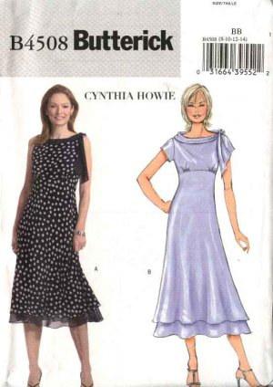 Butterick Sewing Pattern 4508 B4508 Misses Size 8-14 Easy Empire Raised Waist Lined Dress