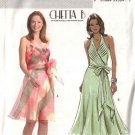 Butterick Sewing Pattern 4514 Misses Size 6-8-10-12 Halter Neck Mock Wrap Front Lined Dress