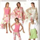 Butterick Sewing Pattern 4525 Misses Size 6-12 Easy Casual Wardrobe Poncho Top Wrap Skirt Hat Bag