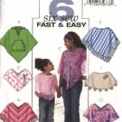 Butterick Sewing Pattern 4545 B4545 Girls Size 3-6 Easy Pullover Hooded Fleece Sheer Poncho