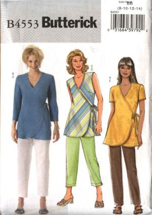 Butterick Sewing Pattern 4553 Misses Size 8-10-12-14 Easy Wrap Front Top Long Cropped Pants