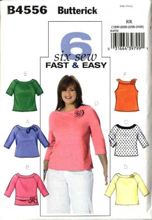 Butterick Sewing Pattern 4556 Womans Plus Size 18W-24W Easy Knit Pullover Tops Sleeve Variations