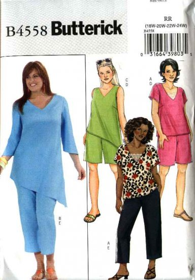 Butterick Sewing Pattern 4558 Womans Plus Size 18W-24W Easy Pullover Tunic Top Shorts Capri  Pants