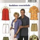"Butterick Sewing Pattern 4559 Misses Mens Chest Size 29 1/2 - 36"" Easy Button Front Shirt Shorts"