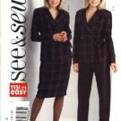 Butterick Sewing Pattern 4582 Misses Size 6-8-10-12 Easy Double Breasted Jacket Straight Skirt Pants