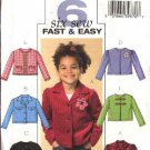 Butterick Sewing Pattern 4591 Girls Size 6-7-8 Easy Unlined Button Front Jacket