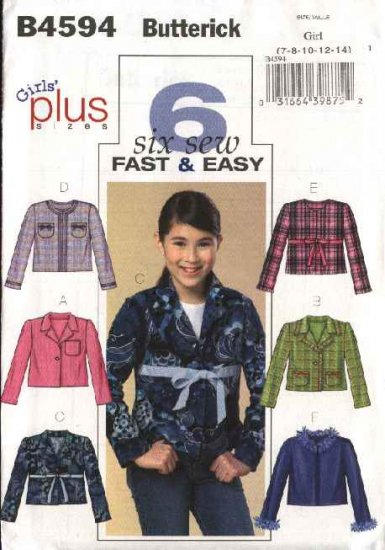 Butterick Sewing Pattern 4594 B4594 Girls Plus Size 10½-16½ Easy Button Front Unlined Jacket