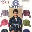 Butterick Sewing Pattern 4594 Girls Plus Size 10-12-14-16 Easy Button Front Unlined Jacket