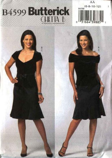Butterick Sewing Pattern 4599 Misses Size 6-8-10-12 Knit Cap Sleeves Off The Shoulder Top Skirt