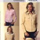 Butterick Sewing Pattern 4607 Misses Size 8-10-12-14 Easy Embroidered Western Style Snap Front Shirt