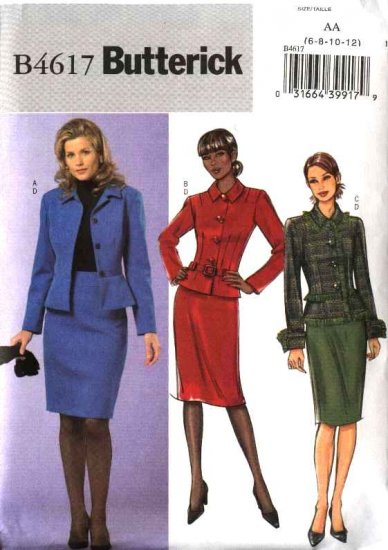 Butterick Sewing Pattern 4617 Misses Size 14-20 Easy Peplum Button Front Jacket Straight Skirt
