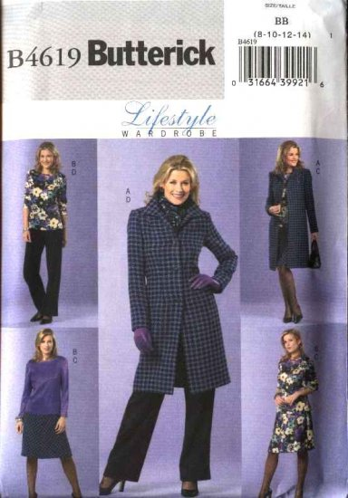 Butterick Sewing Pattern 4619 Misses Size 8-10-12-14 Easy Wardrobe Long Lined Jacket Top Skirt Pants