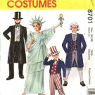 McCall's Sewing Pattern 6143 8701 Adults Size Large Costumes Uncle Sam Statue of Liberty Abe Lincoln