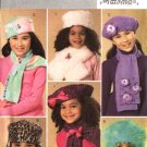Butterick Sewing Pattern 4627 Girls' Fleece Fake Fur Embellished Hats Scarves Scarf