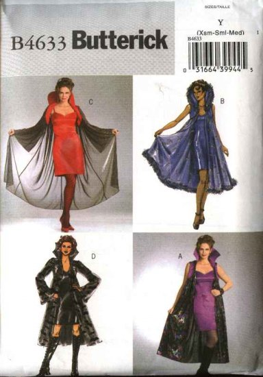 Butterick Sewing Pattern 4633 Misses Size 4-14 Easy Gothic Dress Cape Costume