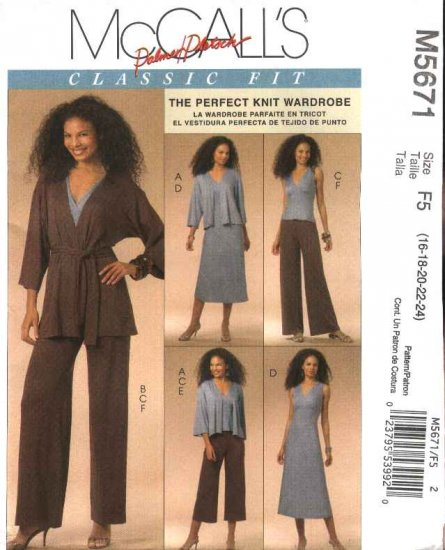 McCall�s Sewing Pattern 5671 Misses Size 16-24 Classic Knit Wardrobe Jacket Top Dress Pants