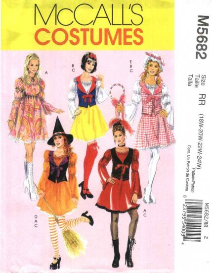 McCall�s Sewing Pattern 5682 Womans Plus Size 18W-24W Costumes Pullover Dress Vest Hats