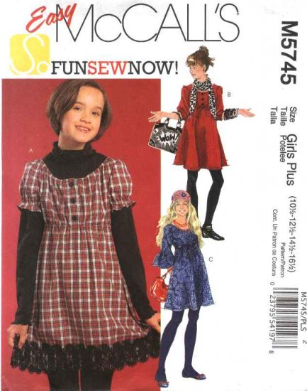 McCall�s Sewing Pattern 5745 Girls Plus Size 10½-16½ Easy Empire Waist Dress Sleeve Variations