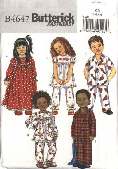 Butterick Sewing Pattern 4647 Boys Girls Toddler Size 1-2-3 Easy Nightgown Pajamas Top Pants