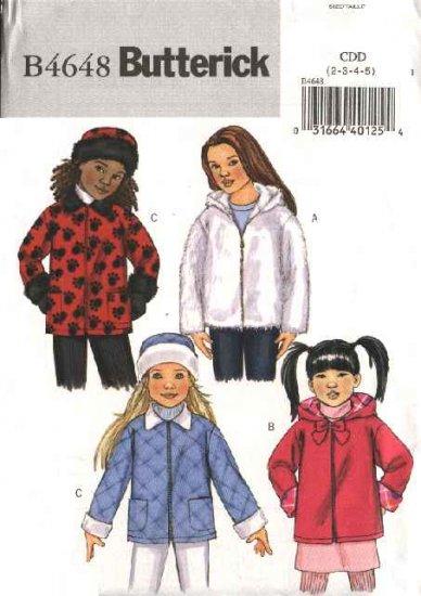 Butterick Sewing Pattern 4648 Girls Size 6-7-8 Easy Zipper Front Hooded Fleece Fake Fur Jacket Hat