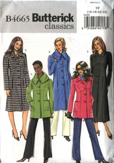 Butterick Sewing Pattern 4665 Misses Size 16-18-20-22 Easy Classic Lined Princess Seam Jacket Coat
