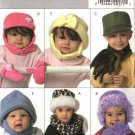 Butterick Sewing Pattern 4673 Baby Toddler Boys Girls Fleece Hats Scarves Mittens