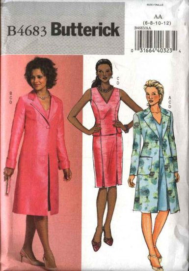 Butterick Sewing Pattern 4683 Misses Size 6-8-10-12 Easy Long Jacket Sleeveless Top Straight Skirt