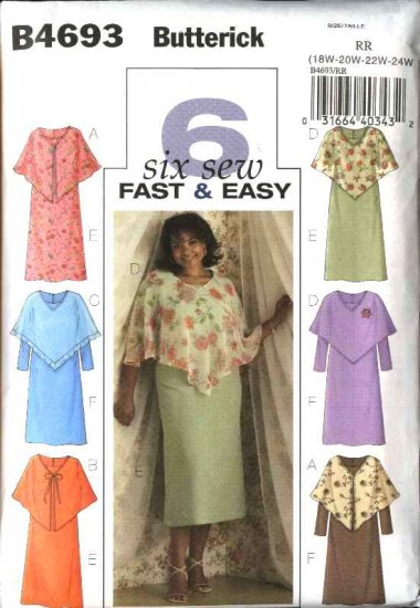 Butterick Sewing Pattern 4693 Womans Plus Size 26W-32W Easy Sheer Poncho Straight Dress