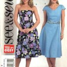 Butterick Sewing Pattern 4704 Misses Size 8-10-12-14 Easy Strapless Short Sleeve Flared  Dresses
