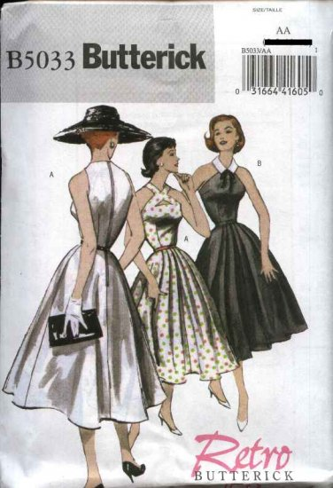 Butterick Sewing Pattern 5033 Misses Size 14-20 Easy Retro '52 Flared Skirt Fitted Bodice Dress