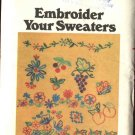 Butterick Sewing Pattern 5173 Embroider Your Sweaters Embroidery Transfers Fruits Flowers