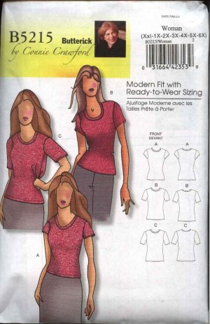 Butterick Sewing Pattern 5215 Misses Size 3-16 Easy Knit Short Sleeve Classic T-Shirt Top