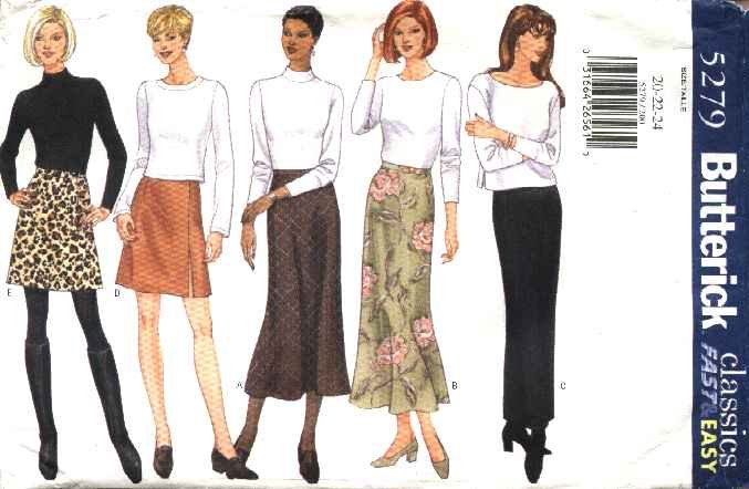 Butterick Sewing Pattern 5279 Misses Size 20-22-24 Easy Classic Bias A-Line Straight Skirts