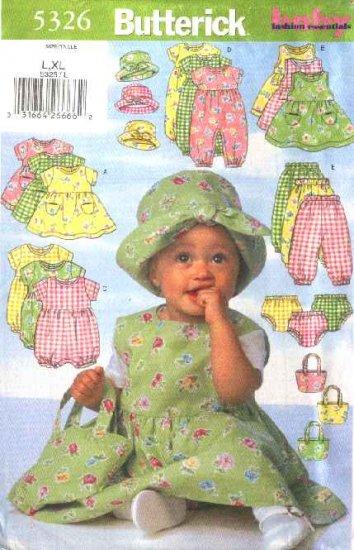 Butterick Sewing Pattern 5326 Baby Infant Size L-XL Easy  Wardrobe Dress Jumper Romper Panties