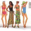 Butterick Sewing Pattern 5551 Misses Size 6-8-10 Easy One Two Piece Swim Suit Bathing Cover-up