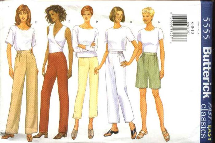 Butterick Sewing Pattern 5555 Misses Size 6-8-10 Easy Classic Long Cropped Capri Pants Shorts
