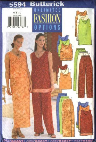 Butterick Sewing Pattern 5594 Misses Size 6-8-10 Easy Wardrobe Top Tunic Straight Skirt  Pants