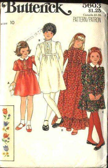 Butterick Sewing Pattern 5603 Girls Size 10 Raised Waist Short Long Sleeve Dress Embroidery Transfer